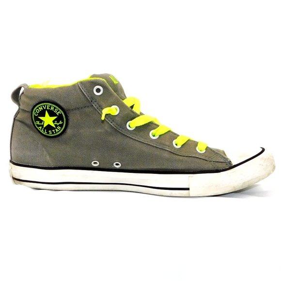 """Converse """"Chuck Taylor"""" Grey/Lime Green High-Top Sneaker"""